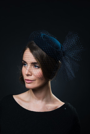 navy felt pillbox with navy birdcage veiling