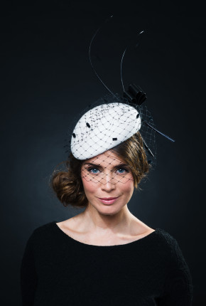 White percher black spotted veiling and quills
