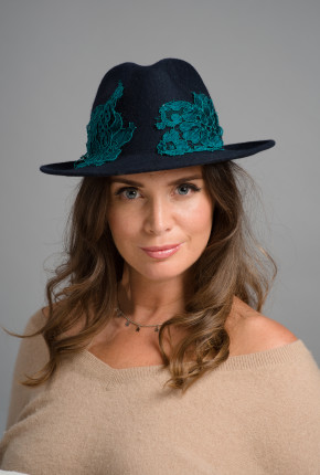 navy trilby with turquoise lace