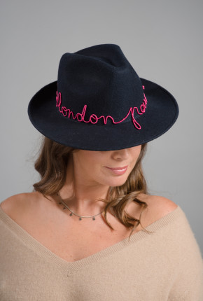 navy felt trilby with wire embroidery 'London New York Paris'