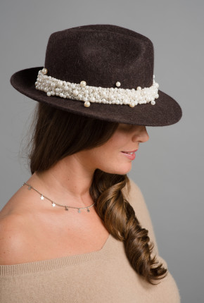 brown trilby with pearl trimming
