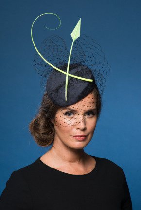 navy silk percher navy veil neon quill feather
