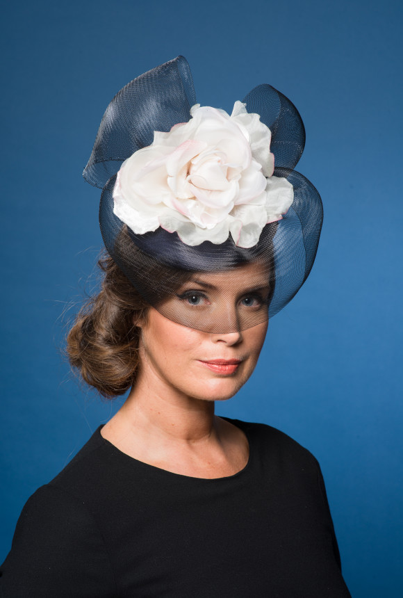 navy silk button navy crinoline ivory flower