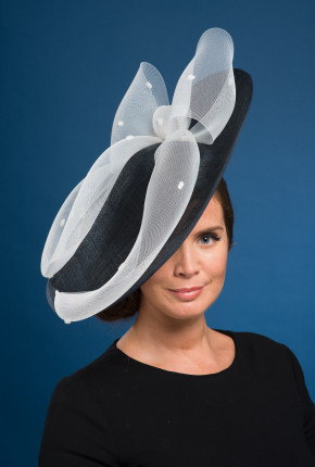 dark navy saucer white bow