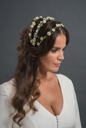 flower and pearl embroided headpiece