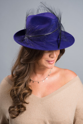 Purple felt trilby with black burnt ostrich feathers