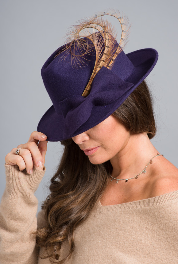 purple felt trilby with curled pheasant feathers