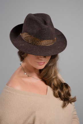 Stone felt trilby with pheasant feather