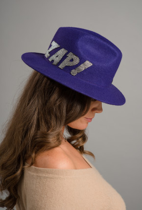 Purple trilby with embroided 'ZAP!'
