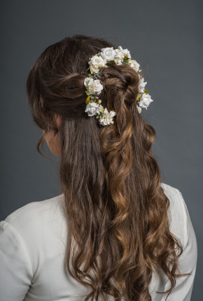ivory flower hairpiece