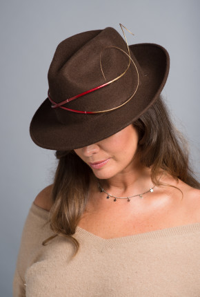 Brown felt trilby with red and gold quills