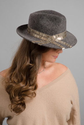 Grey felt trilby with sparkly silver trimming