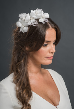 silk and lace flower hairpiece