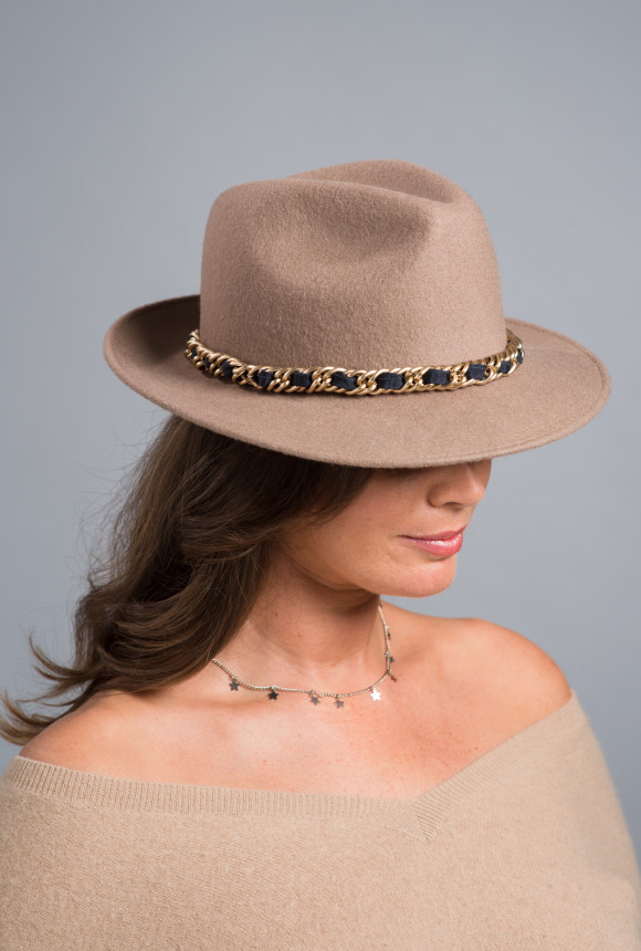 Camel felt trilby with gold chain and navy ribbon trim