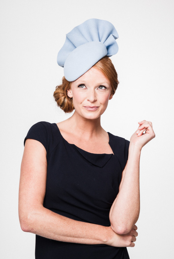 powder blue felt beret with a striking felt ruffle