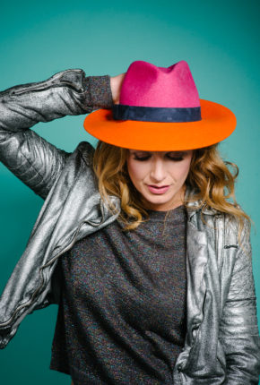 Fuschia orange brimmed trilby navy trim