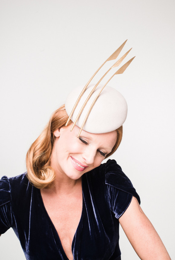 alabaster felt beret with three gold goose spear feathers
