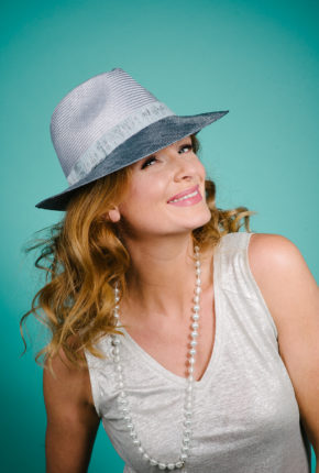 Denim and silver dual tone parisisal trilby with sparkly trim