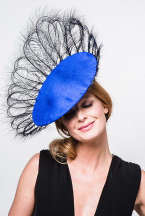 cobalt silk saucer brimmed in dark navy burnt pheasant feathers