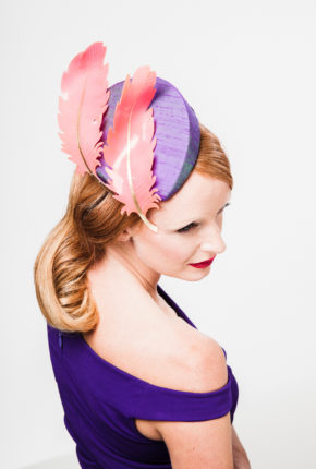 Purple raw silk percher with two bright pink sculpted feathers