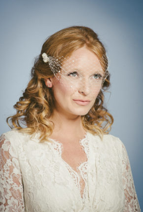 Floating bridal birdcage veil