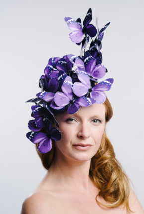 Purple butterflies, Ascot hat