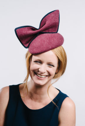Felt cap with oversize felt bow