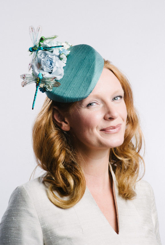 dragonflies on teal silk percher with roses