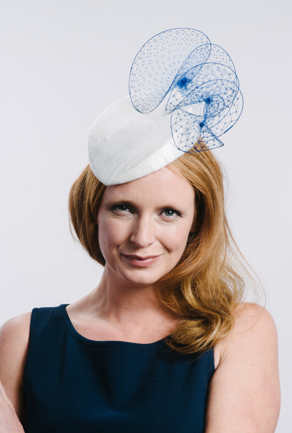 ivory percher with cobalt veiled twists