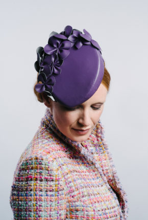 Aubergine leatherette percher with flowers