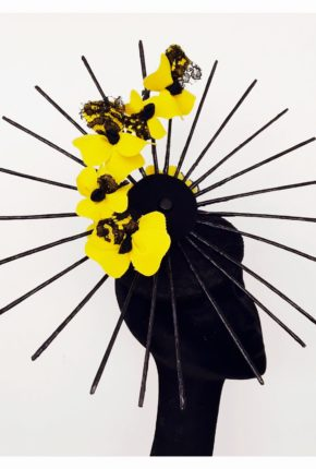 parasol, black, yellow, flowers